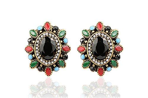 [Lemonstraw Bohemia folk style retro style oval colorful Gemstone Earrings] (India National Costume For Male Kids)