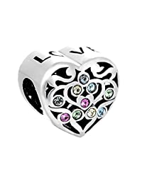 Lovans 925 Sterling Silver Swarovski Charm Heart Charm Bead For Trollbeads Bracelets (Gift for Lover on Valentine's day)