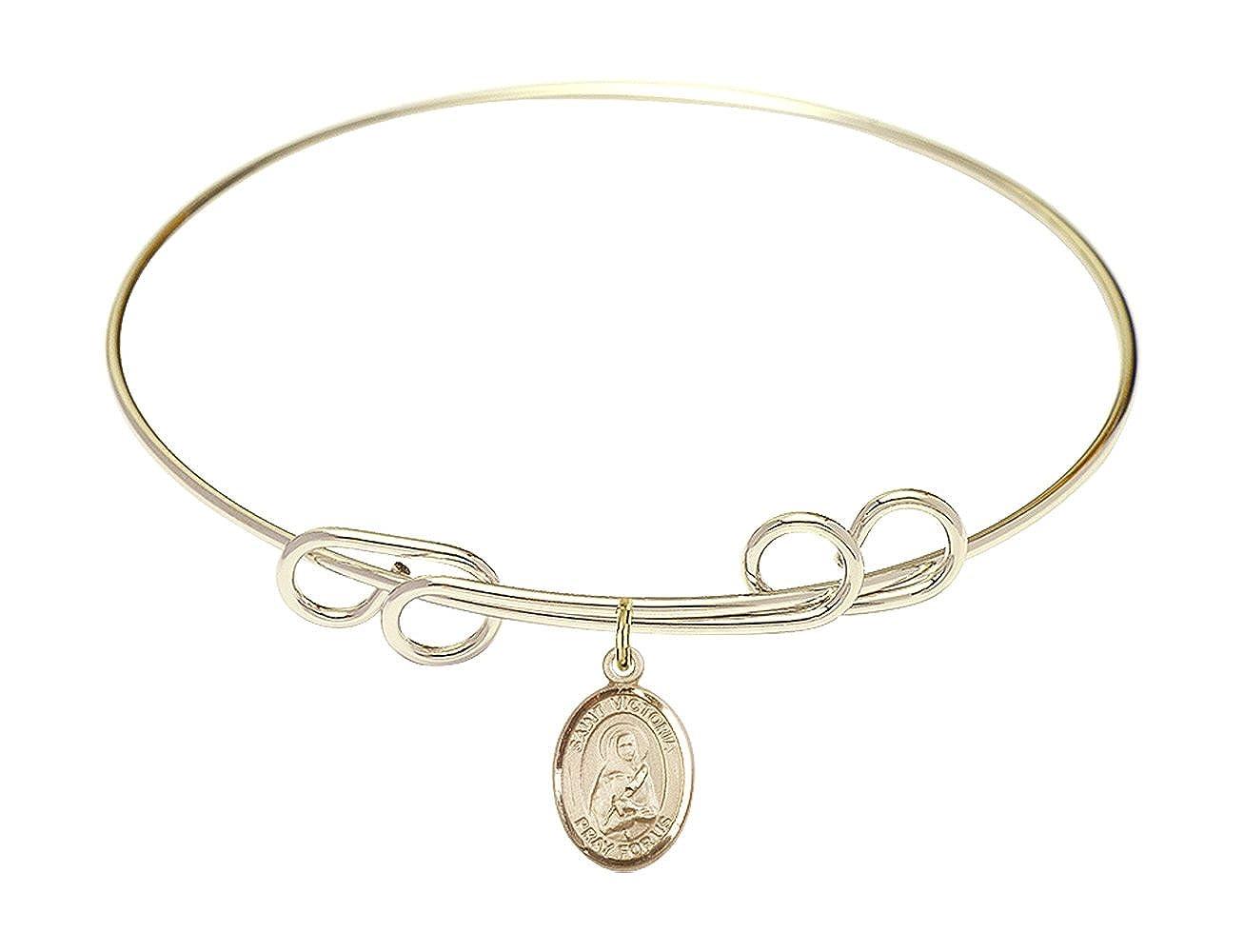 DiamondJewelryNY Double Loop Bangle Bracelet with a St Victoria Charm.