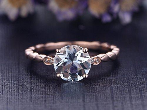 (6mm Round Cut VS Aquamarine Engagement Ring,Diamond Wedding Band,14K Rose Gold,Bamboo Style Promise Ring,Bridal Ring)