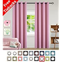 Cute Pink Rose Good Sleep Grommet Blackout Curtains for...