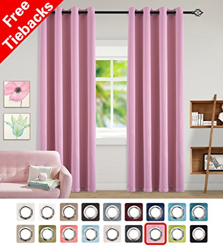 Cute Pink Rose Good Sleep Grommet Blackout Curtains for Girl's Room-52x84 inches(2 Panels) by - Baby Pictures Ray Ray