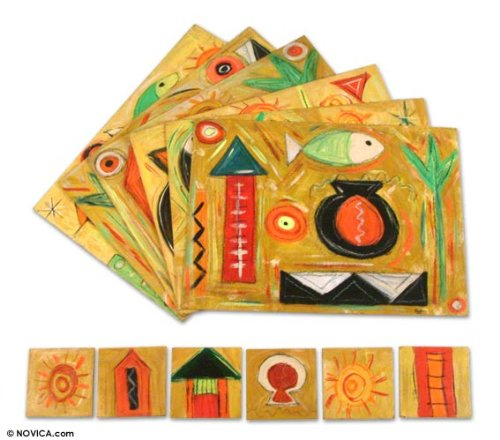 NOVICA Hand Made Wood Placemats and Coasters, Earthtone, 'Fish Journeys' (Set for 6)