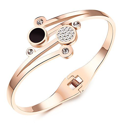 Girl Era Love Encounter Crystal Rose Gold Plated Base Princess Cuff Bangle - Cuff Set Coral Bracelet