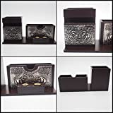 PEN & Business Card Display Holder Elephant Theme Style Wood Carved Decor Home Office