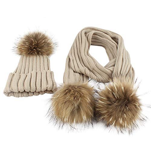 (Clearance,Baby Beanie Winter Hat Scarf Set Slouchy Warm Snow Knit Cap +Scarf,2PCS Set (Beige))