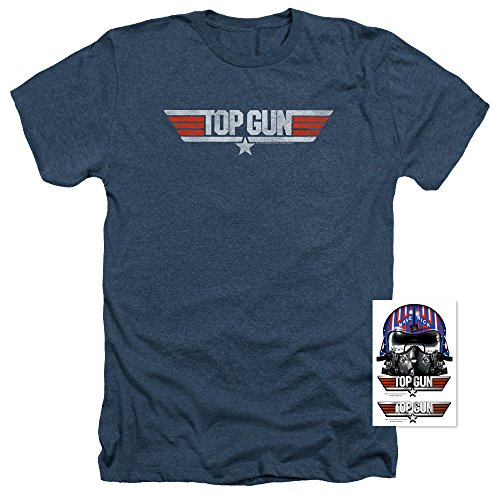 Distressed Logo Mens T-shirt - Popfunk Top Gun Distressed Logo T-Shirt and Exlcusive Stickers (Large)
