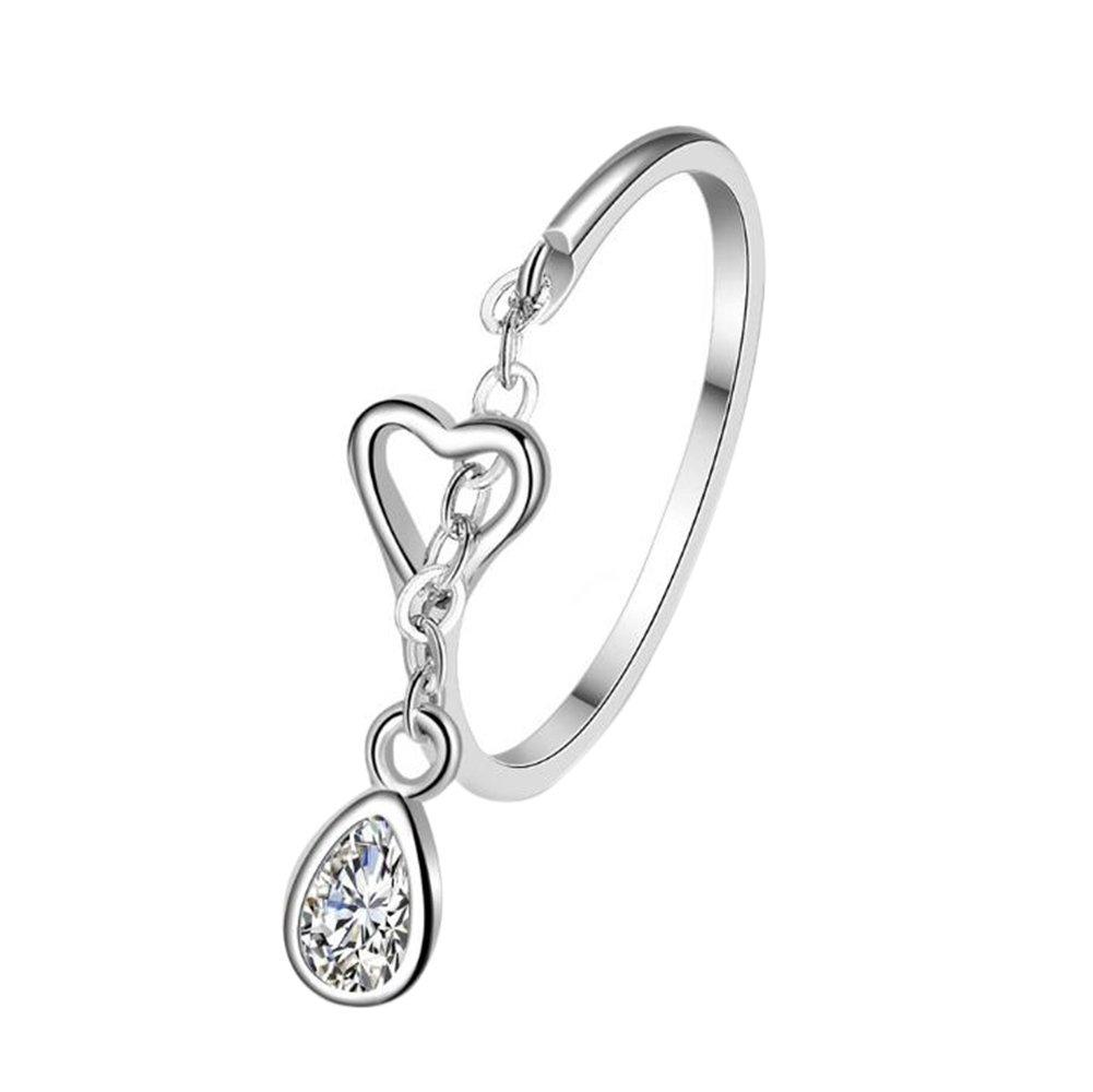 Nikgic Wunderschöne Wasser Tropfen Anhänger Design Kristall Ringent Damen Silber Ringe Einstellbare Mädchen Ring Modeschmuck Zubehör Valentines Geschenk
