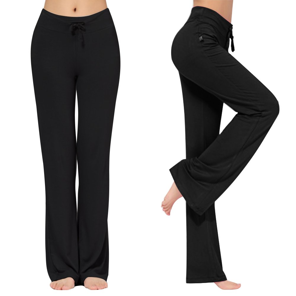 KY-Troupe Women's Loose Drawstring Trouser Wide Leg Yoga Pants for Sporting Straight Pants (Black, XXL)