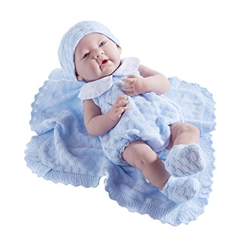 """La Newborn in a Blue Knit Blanket Gift Set. Realistic 15 Anatomically Correct """"Real Boy"""" Baby Doll"""