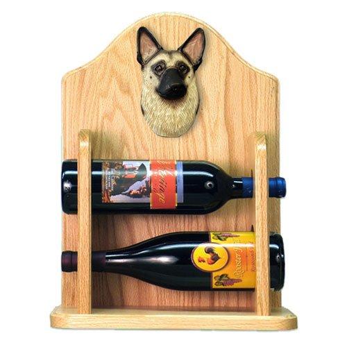 Michael Park TAN with Black Saddle German Shepherd Wine Rack 2 Bottle-Light Oak