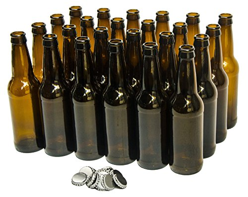 North Mountain Supply 12 Ounce Long-Neck Amber Beer Bottles - Case of 24 - Includes Crown Caps ()