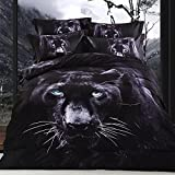 Newrara 3d animal bedding set tiger/ black leopard/lion/swan/dolphin/horse/Wolf duvet cover set for boys 100% cotton queen (black)