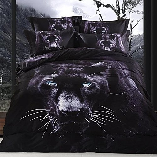 Newrara 3d animal bedding set tiger/ black leopard/lion/swan/dolphin/horse/Wolf duvet cover set for boys 100% cotton queen (black) by Newrara