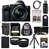 Cheap Sony Alpha A7 Digital Camera & 28-70mm FE OSS Lens with 64GB Card + Battery & Charger + Backpack + Flex Tripod + Tele/Wide Lens Kit