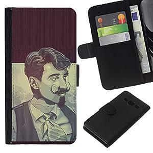 KLONGSHOP // Tirón de la caja Cartera de cuero con ranuras para tarjetas - hombre con barba Selenastrum - Samsung Galaxy A3 //