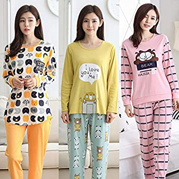 NVYISHUI Pijama de otoño de Las Mujeres de Manga Larga Traje de otoño Damas
