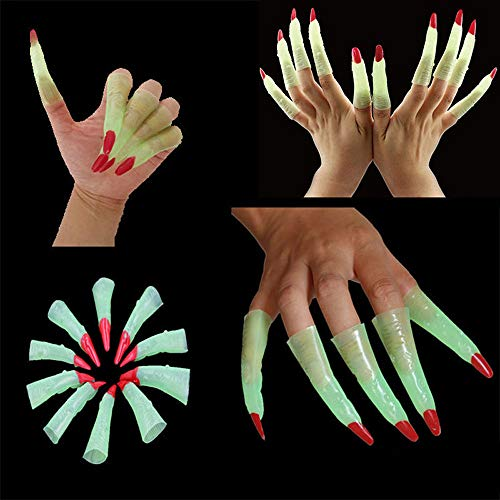 ️ Yu2d ❤️❤️ ️10xFake Fingers Witch Nail Set Cover Halloween Prop Party Fancy Dress Cosplay]()
