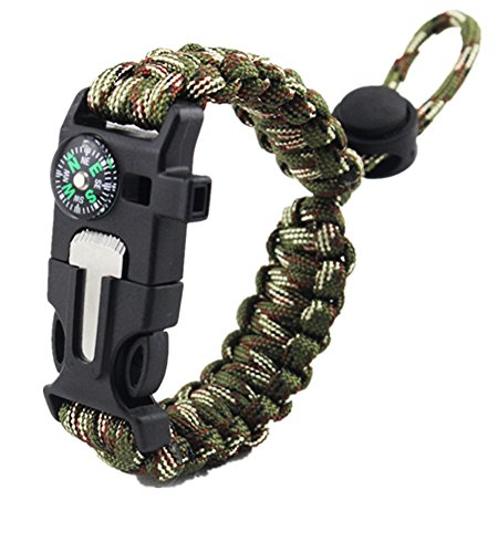 Yan's 5 in 1 Survival Bracelet---2.5 meter Parachute Cord, Compass, Flint Fire Starter, Flint Scraper, Whistle---- for Hiking Camping Emergency (Camo)