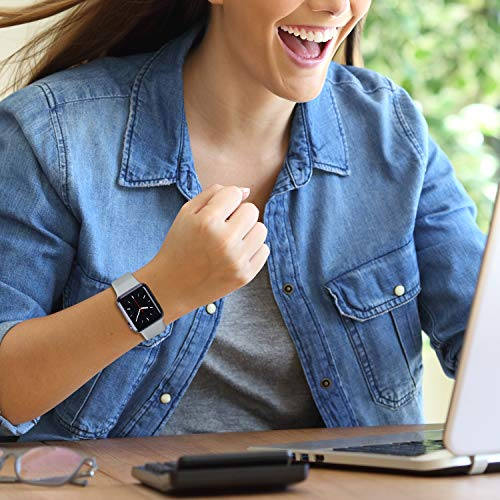 ATUP Compatible with Apple Watch Band 38mm 40mm 42mm 44mm Women Men Soft Silicone Band Compatible