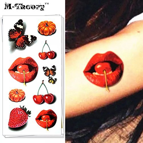 Cherry Tattoo (Wet red lips cherries pumkins strawberries butterflies TEMPORARY TATTOO scar cover up cartoon anime fruit basket lip kits adult lovers sex game TATTOO STICKERS stretch waterproof fake tattoo cover up)