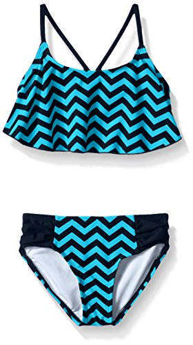 Kanu Surf Little Girls' Alania Flounce Bikini Beach Sport 2-Piece Swimsuit, Alexa Blue Chevron, 4]()