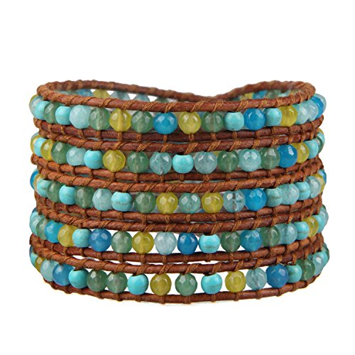 Kelitch Turquoise Jade Perles 5Wrap Bracelet fait à la main Chaîne NEUF d'été Bijoux