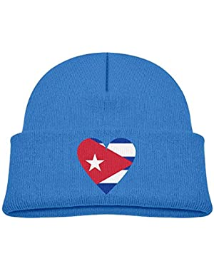 Fashion Cuba Heart Flag Printed Baby Girl Boys Winter Hat Beanie