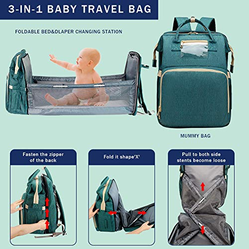 51doK4AX3sL - Cosy Casa Baby Travel Diaper Bag Backpack With Bassinet Changing Mat Changing Station,Folding Crib Bag Foldable Mommy Bag For Baby Girl Boy Infant Mom Diaper-Bag-Backpack-Baby-Travel(Green)
