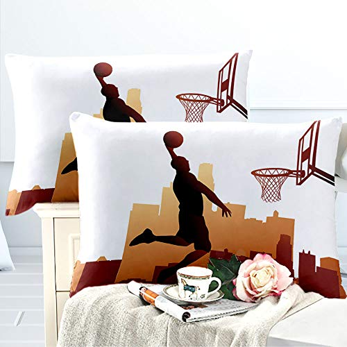 "ARL HOME Sports Bedding 2 Pack 20""x 36"" Basketball Pattern King Pillowcase Teen Room Decorative Throw Pillow Cases Cover Basketball Fan Slam Dunk Pillow Shams for Boys Gift in Bedroom Couch Car"