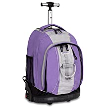 J World New York Twinkle Light Up Wheel Rolling Backpack, Lilac