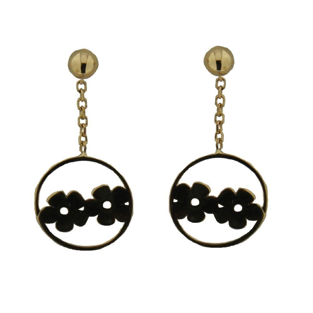 18k Yellow Gold Open Circle Fliowers Dangle Earrings 0.75 inch