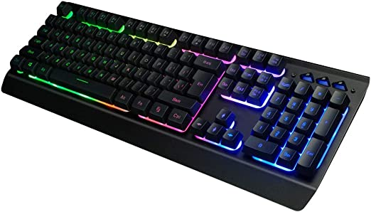 GSUMMER Gaming Mechanical Keyboard,Home Black Switch RGB Backlit Metal Ergonomic Hand Rest Multimedia Wired USB Keyboard for PC Laptop Computer