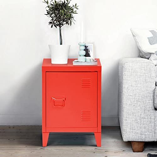 Red Metal Nightstand Cabinet Side End Table with Door and Shelves