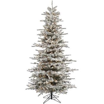 Amazon.com: Vickerman Flocked Slim Utica Tree with 400 LED Light ...