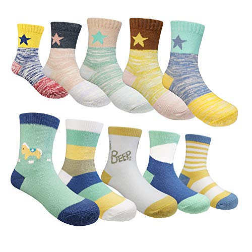 Muyubei Fashion Casual Style Boys' and Girls' Kids Wearing, Novelty Horse and Star Pattern, Spliced, Stripes, Green Color Cotton Babies' Socks,10 Pairs (Stars, M-4-6 Years(13-17cm))