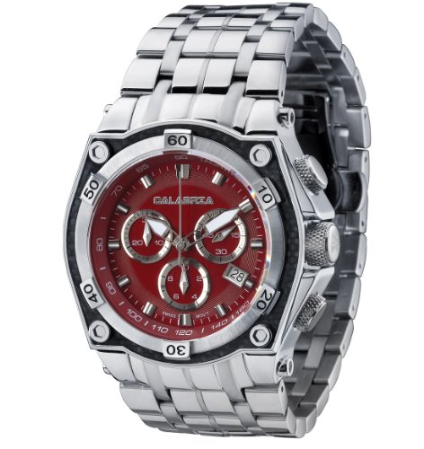 CALABRIA - Fuoco - Red Chronograph Men's Watch with Carbon Fiber Bezel and Stainless Steel Band Carbon Fiber Chronograph Watch
