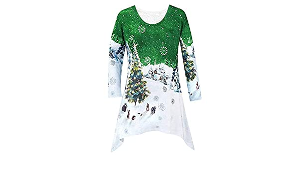 Amazon.com: YKARITIANNA New Women Fashion Christmas Shirt Tunic Woodland Winter Scene Blouse: Arts, Crafts & Sewing