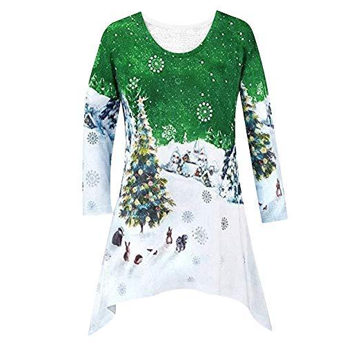 (Crop Top,Kulywon New Women Fashion Christmas Shirt Tunic Woodland Winter Scene Blouse(L/US 8,Green))