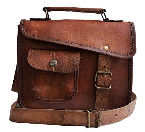 (small Leather messenger bag shoulder bag cross body vintage messenger bag for women & men satchel (7 x 9))