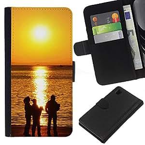 JackGot ( Tramonto Beautiful Nature 118 ) Sony Xperia Z1 L39 la tarjeta de Crédito Slots PU Funda de cuero Monedero caso cubierta de piel