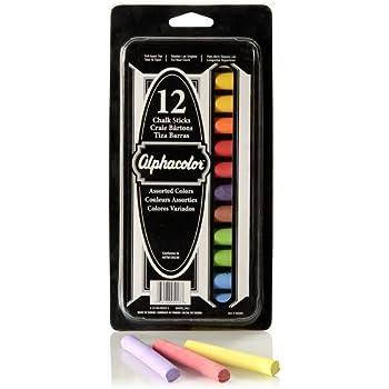 Quartet Alphacolor Chalk Sticks, Assorted Colors, Low Dust, AP Approved, 12 Pack (305003)