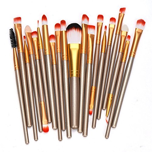 20 Piece Makeup Brushes Set Eyeshadow Concealer Cosmetics Make Up Tool Foundation Natural Beauty Palette Perfect Popular Eyes Faced Colorful Rainbow Hair Highlights Glitter Kids Travel Kit, Type-02 (Kit Control Pigment Solution)