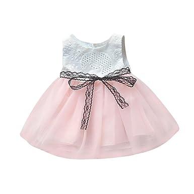 41ac5209fdc2f Amazon.com: Moonker Infant Newborn Baby Girls Dresses Button Bownknot Lace  Net Yarn Princess Tutu Dress: Clothing