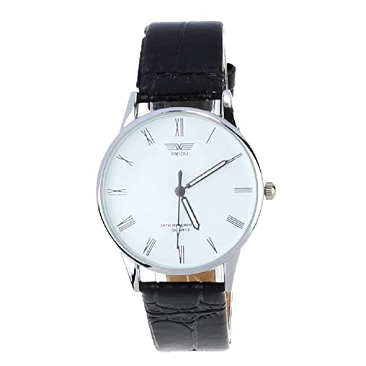 Sannysis® De los hombres clásicos del cuero Número romana cuarzo banda reloj de pulsera(