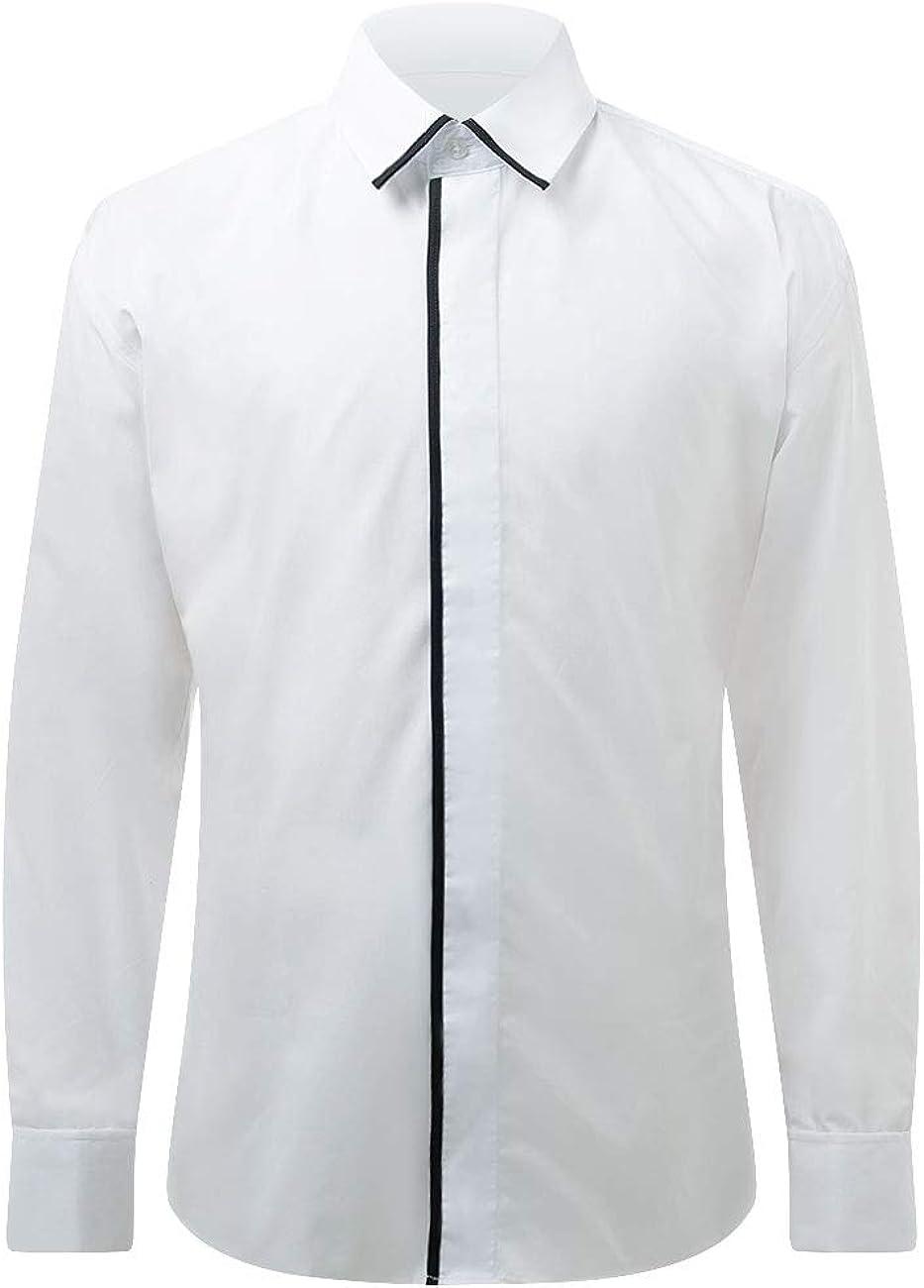 Camisa de Vestir Blanca con Ribetes Negros de Dobell-40 ...