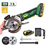 "Circular Saw Cordless, POPOMAN 4-1/2"" Mini Saw 20V, 1H Fast Charger, 9.5'' Base Plate, One Hand Control, 2.0Ah Battery, Laser Guide, Cutting Depth 1-11/16'' (90°), 1-3/8'' (0°-45°), Wood metal Cuts"