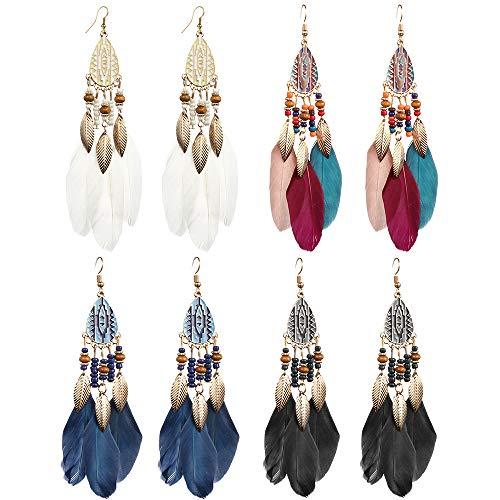hefanny 4 Pairs Vintage Long Bohemian Fringe Tassel Leaf Feather Beeded Dream Catcher Drop Dangle Earrings Set for Women Girls