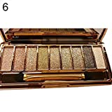 Jingjing1 9 colors Waterproof Makeup Glitter Shimmer Eyeshadow Palette with Brush & Mirror Women Cosmetic Diamond Bright Colorful Makeup Glitter Eye Shadow Palette Set-#6