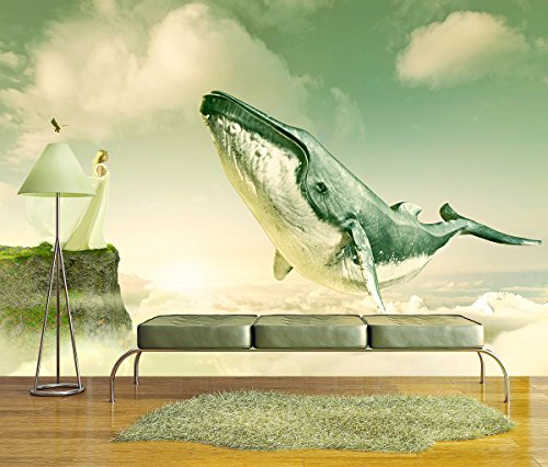 Large Wall Mural Fantasy Series Girl on and Cliff with a Flying Whale above the Clouds Vinyl Wallpaper Removable Wall Decor